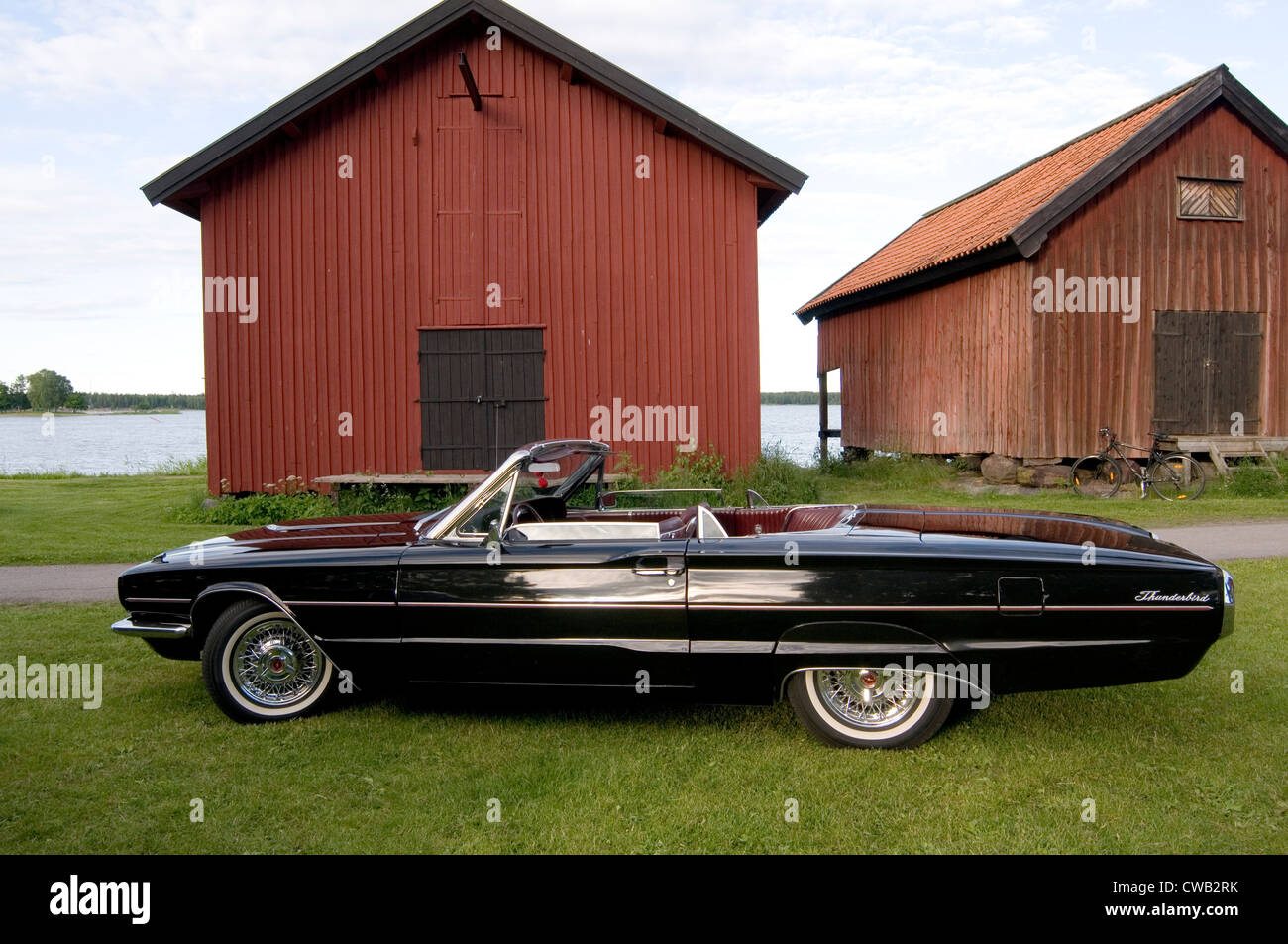 1968 ford thunderbird classic car cars convertible soft top - Stock Image