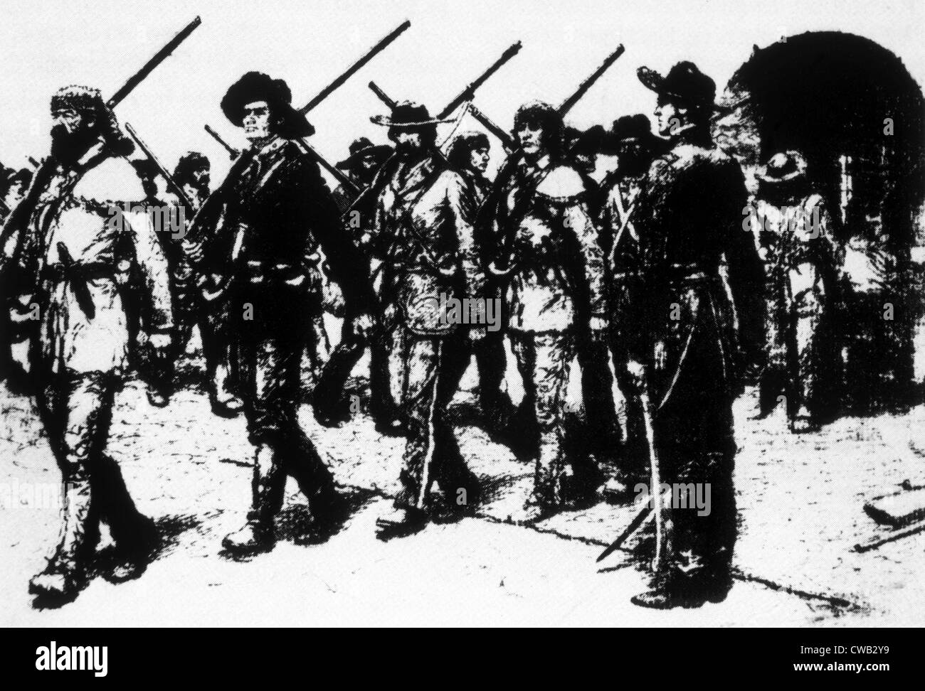 Colonel William Travis standing on the line he drew at the Alamo, March 3, 1836 - Stock Image
