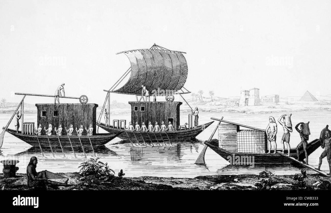 Egyptian Nile boats, engraving 1866 - Stock Image