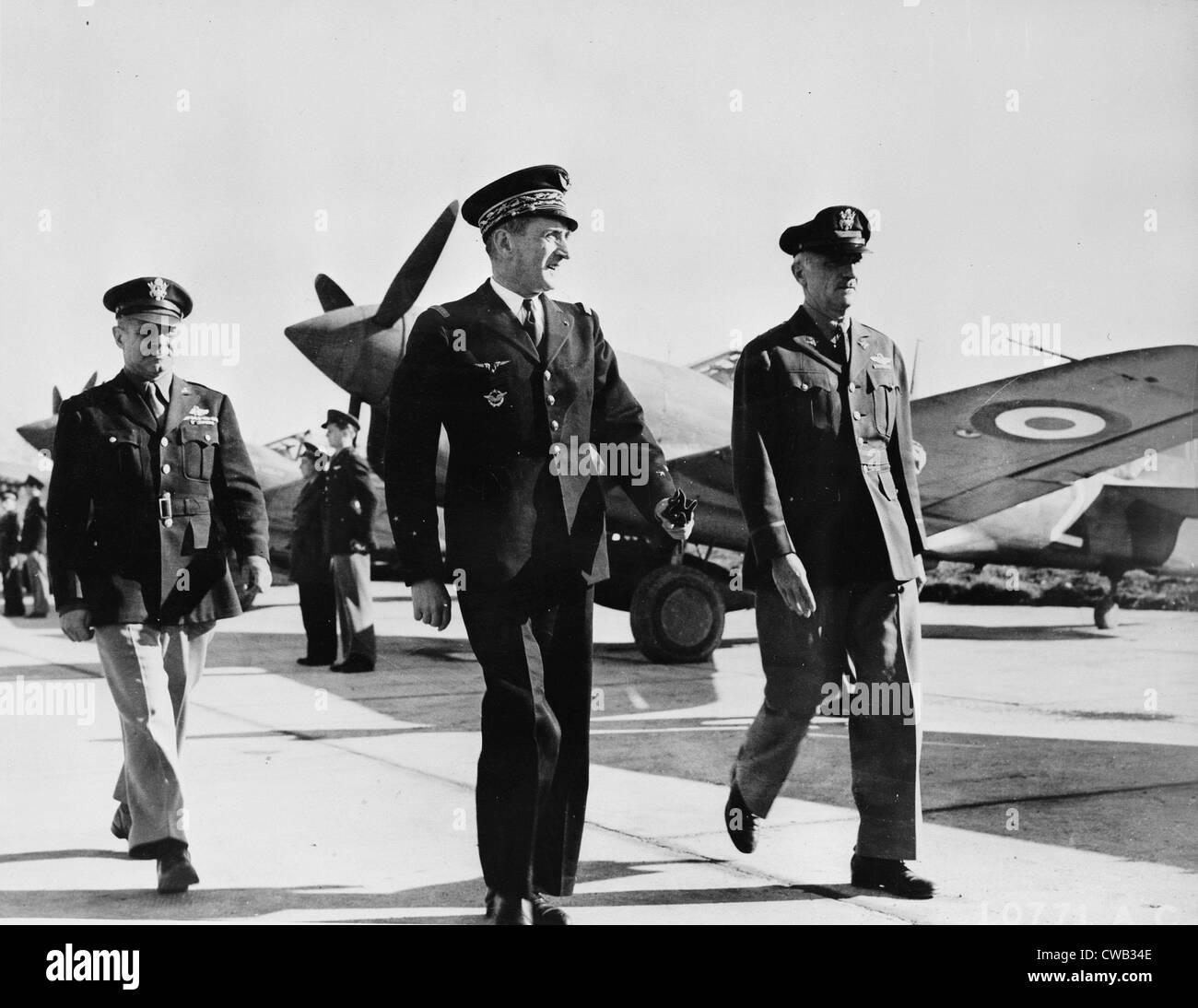 World War II, Major General Carl Spaatz, United States Air Force commmander in North Africa, Major-General Jean - Stock Image