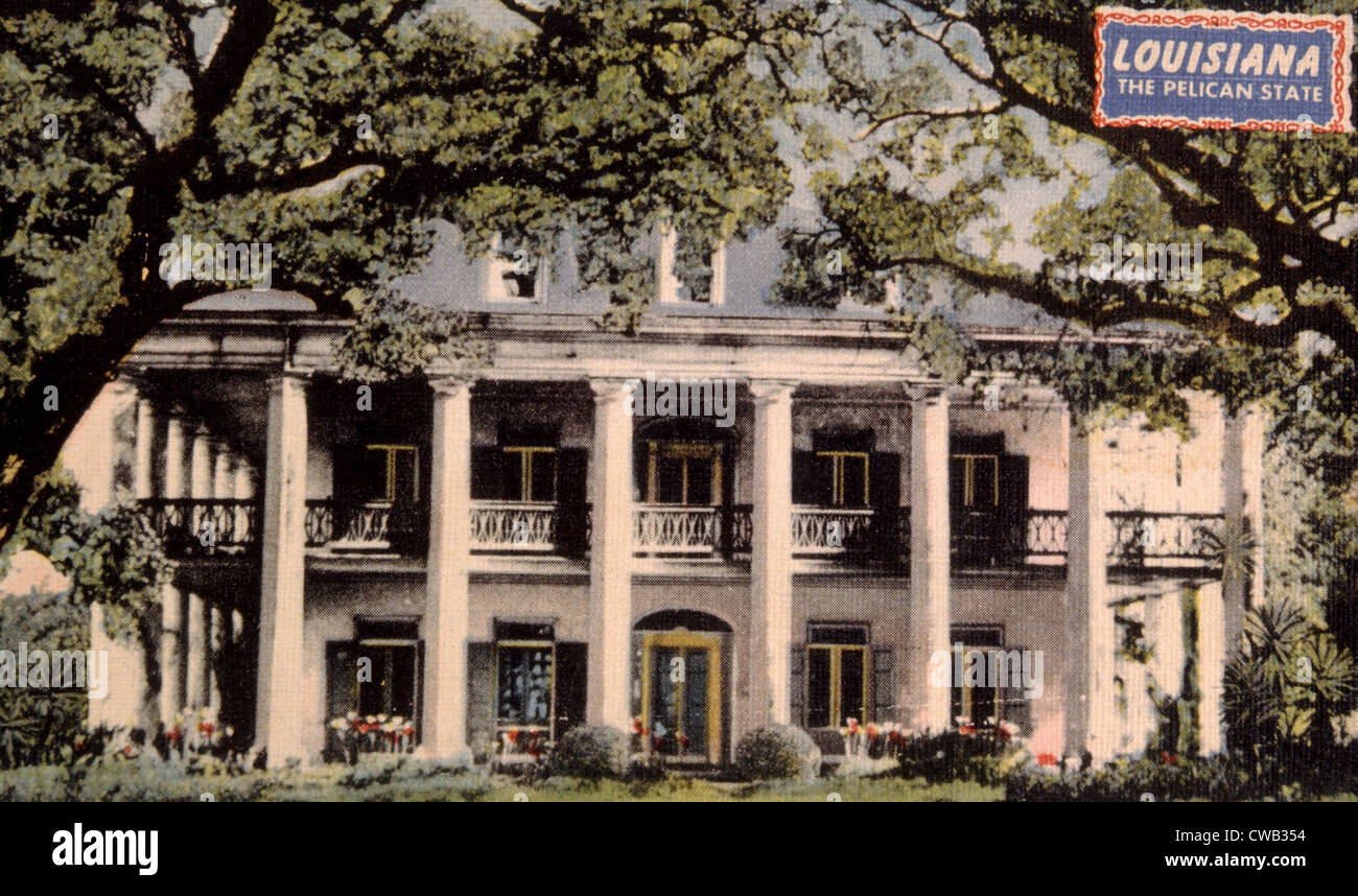 Oak Alley, near New Orleans, Louisiana, built by Gouvenor Rouman in 1836 - Stock Image