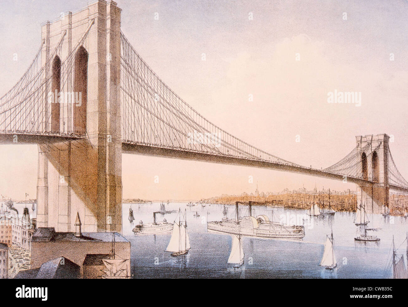The Brooklyn Bridge, Currier & Ives, 1881 - Stock Image