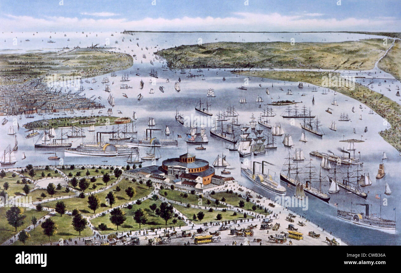 The Port of New York, Currier & Ives, 1878 - Stock Image