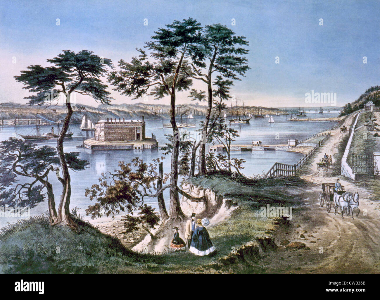 Staten Island and the Narrows, Currier & Ives, 1861 - Stock Image