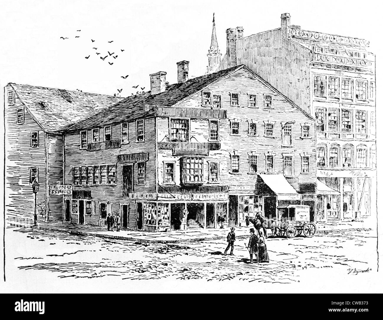 Rhode Island, Exchange Coffee House, constructed in 1750, 1-5 Market Square, Providence, circa 1750. - Stock Image
