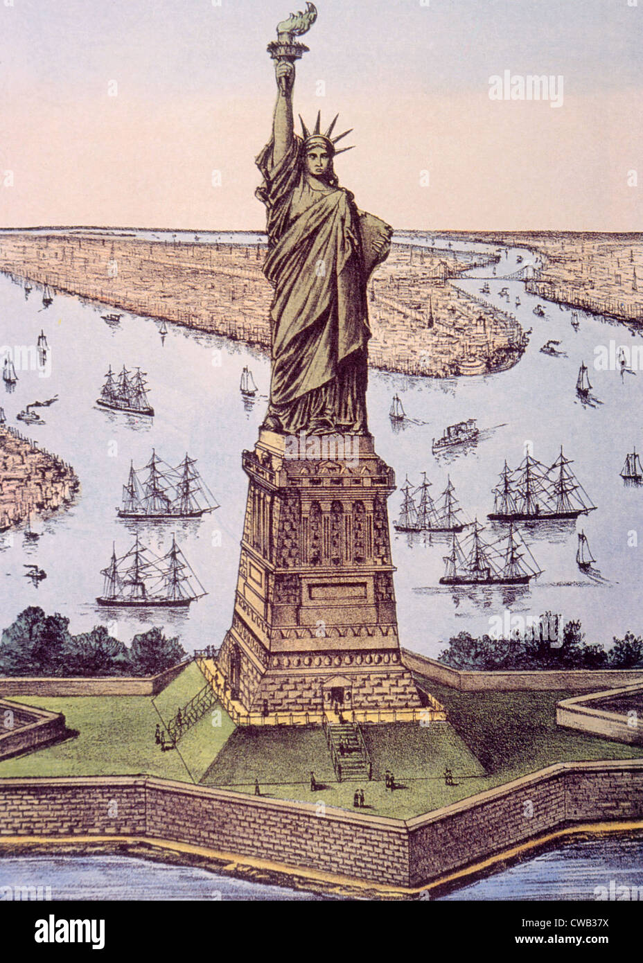 The Statue of Liberty (aka The Great Bertholdi Statue), lithograph by Currier & Ives, 1885 - Stock Image