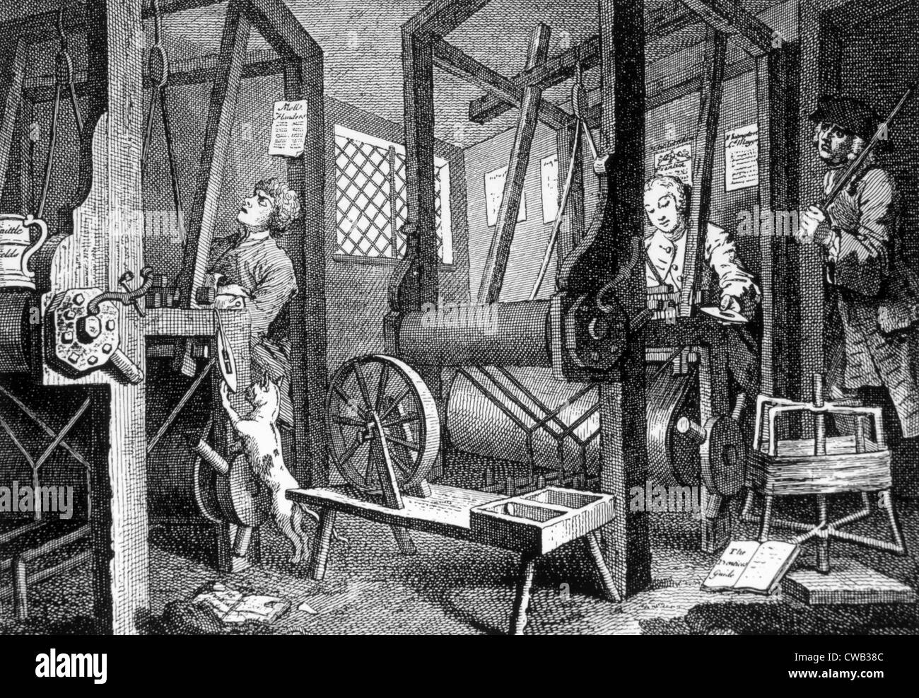 Weaving at Spitalfields, England, 'Industry and Idleness' engraving by William Hogarth circa 1780, - Stock Image