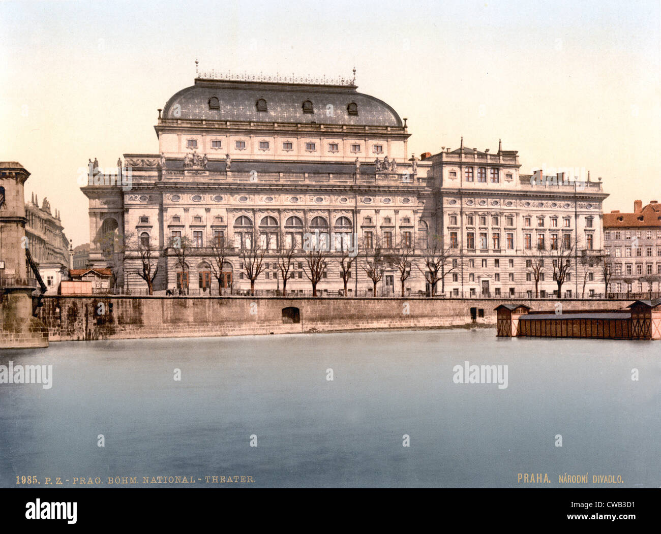 Prague, National Theatre, Bohemia, Austro-Hungary, photochrom, circa 1900. - Stock Image