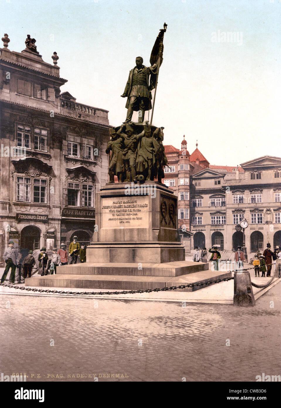 Prague, Joseph Radetzky Memorial, Bohemia, Austro-Hungary, photochrom, circa 1900. - Stock Image
