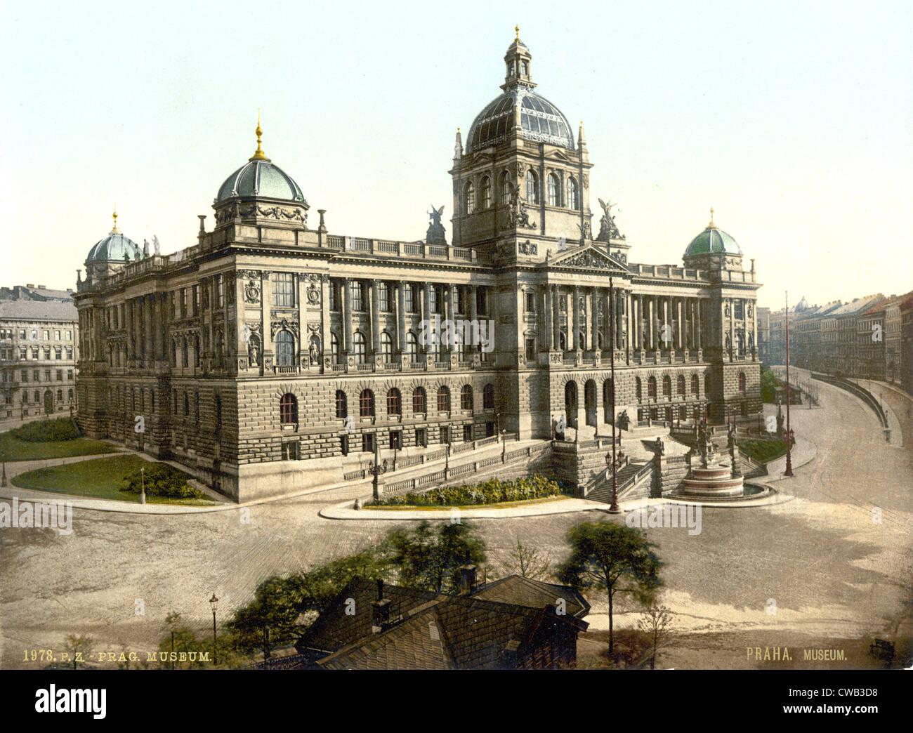 Prague, Museum, Bohemia, Austro-Hungary, photochrom, circa 1900. - Stock Image