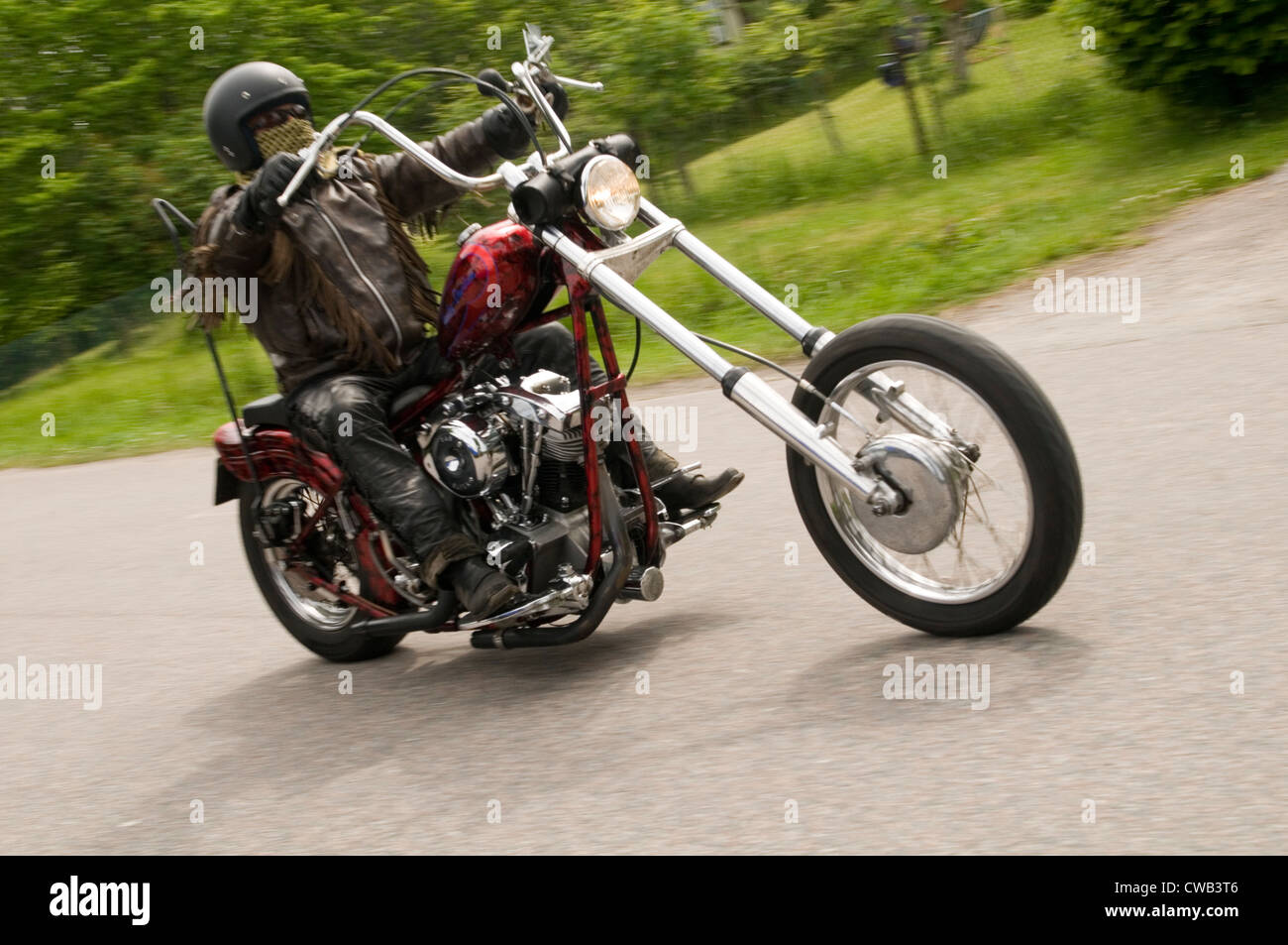 biker bikers ride harley davidson chopper v twin motorcycle motorcycles motor cycle cycles bike motorbike bikes - Stock Image