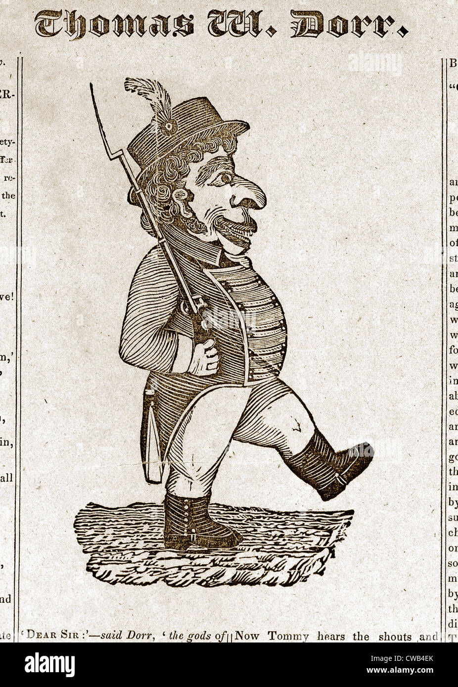 Thomas Wilson Dorr. Caricature of Dorr taken from the broadside, The Sovereignty of the people must and shall be - Stock Image