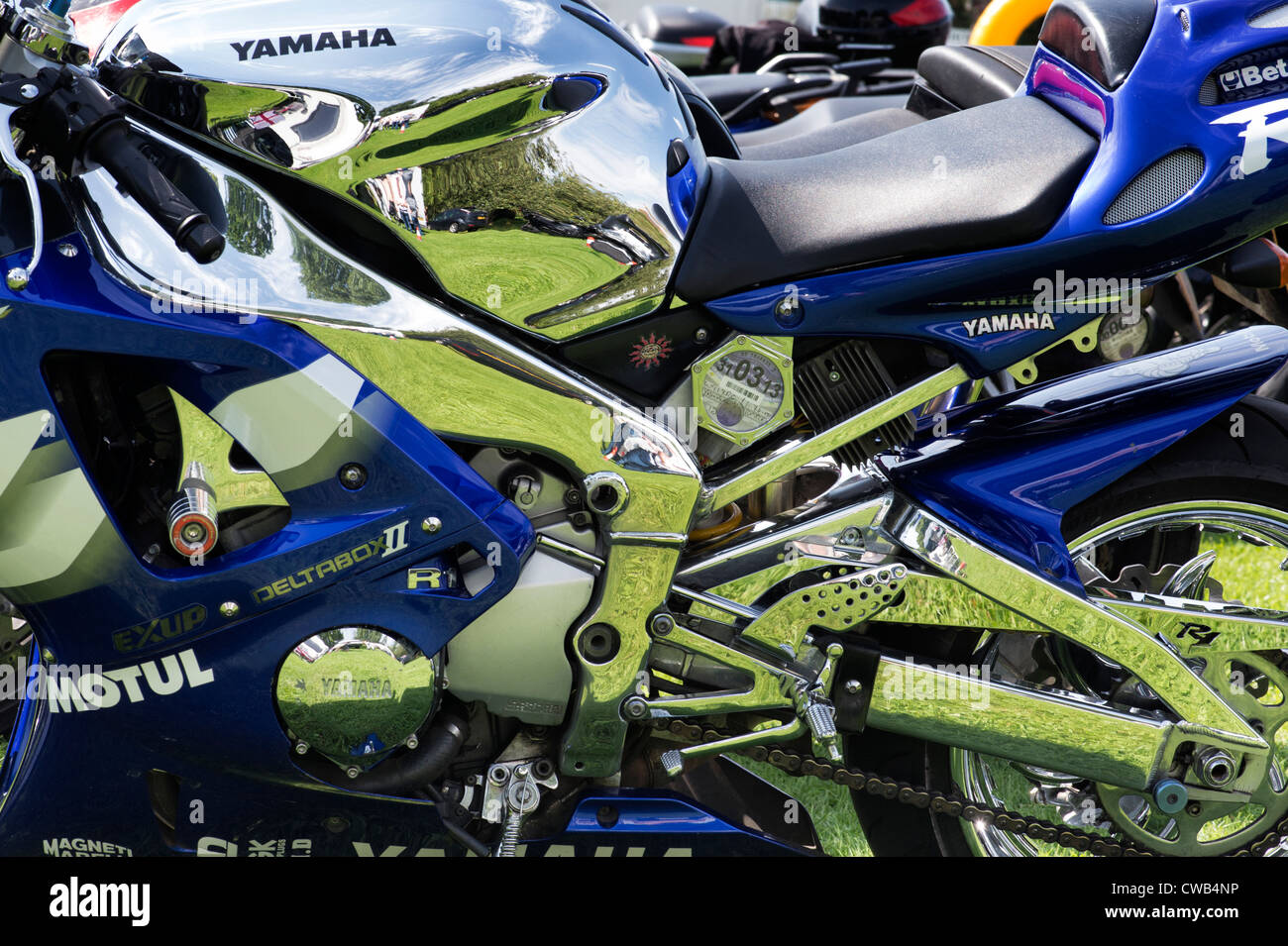 Chrome and custom Yamaha R1. Sports Motorcycle detail - Stock Image