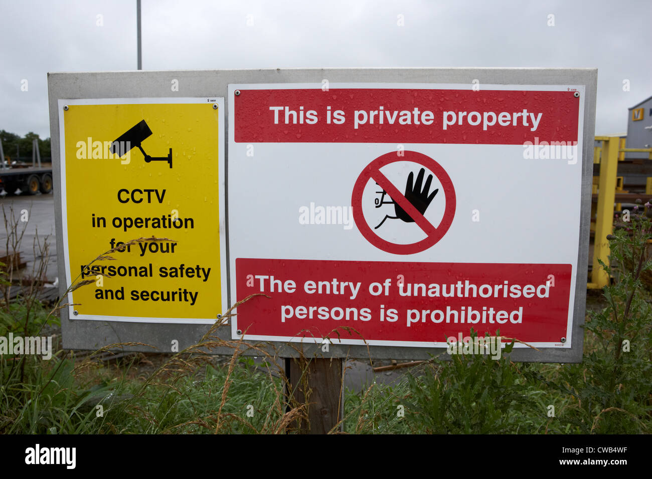 private property no entry warning sign and cctv security sign lisburn northern ireland uk - Stock Image