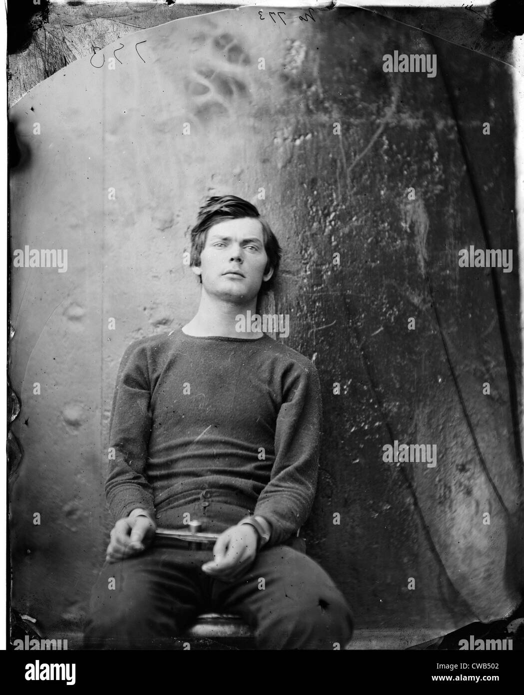 Assassins. Lewis Payne, in sweater, seated and manacled. Photograph by Alexander Gardner, April 1865 - Stock Image