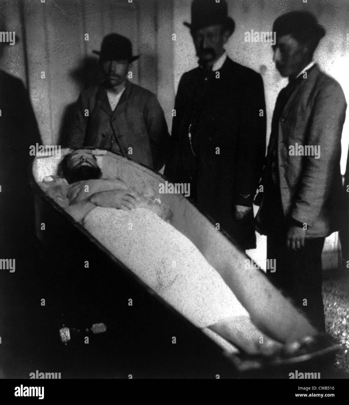 Wild West. Jesse James, dead,  in coffin, ca. 1882 - Stock Image