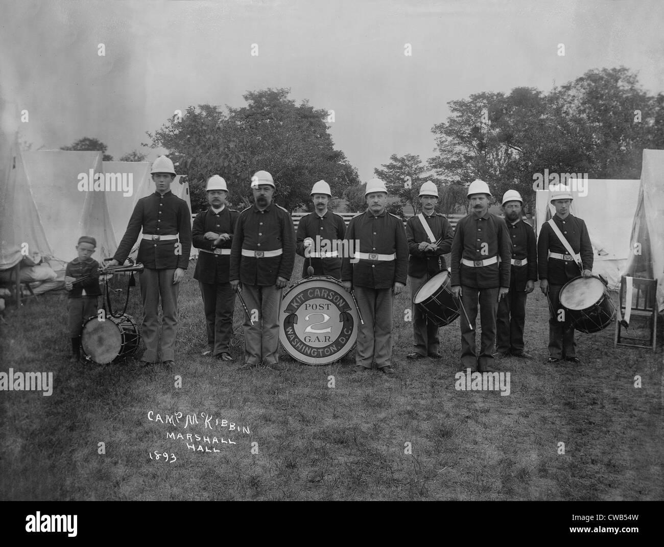 Kit Carson's band, Camp McKibbin, photograph, 1893. - Stock Image
