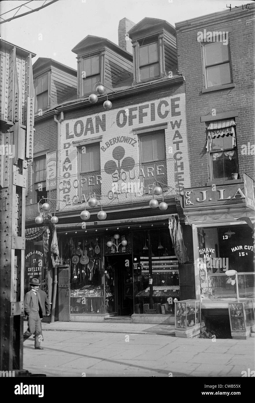 Pawn shop, photograph, 1900s-1930s. - Stock Image