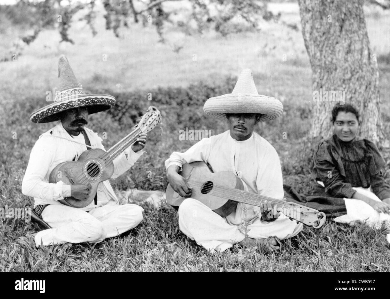 Folk Music. Musical picnic, photo by Hugo Brehme, Mexico, D.F. ca. 1910s - Stock Image