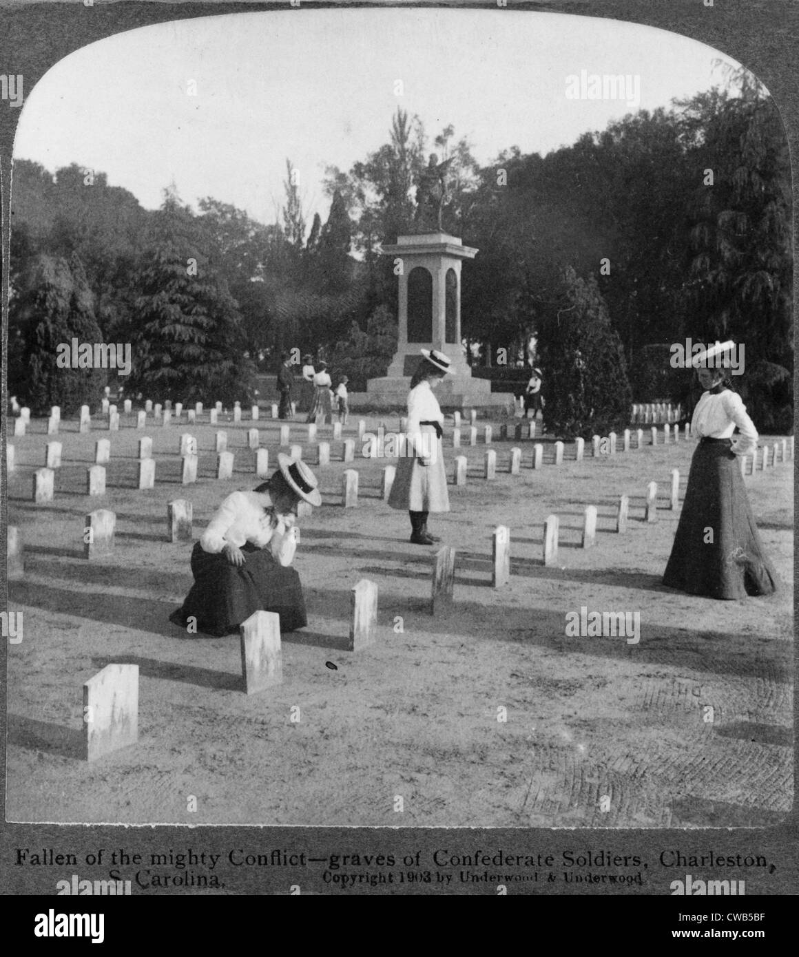 The Civil War, fallen of the mighty conflict, graves of Confederate soldiers, Charleston, South Carolina, photograph - Stock Image