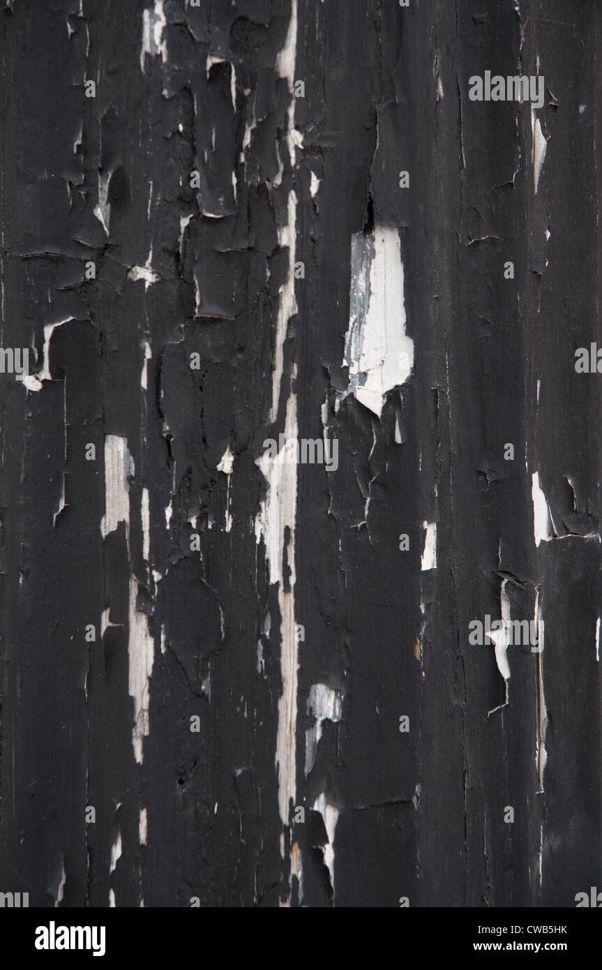 exterior woodwork with flaking paintwork. Old black paint peeling form woodwork, close up - Stock Image
