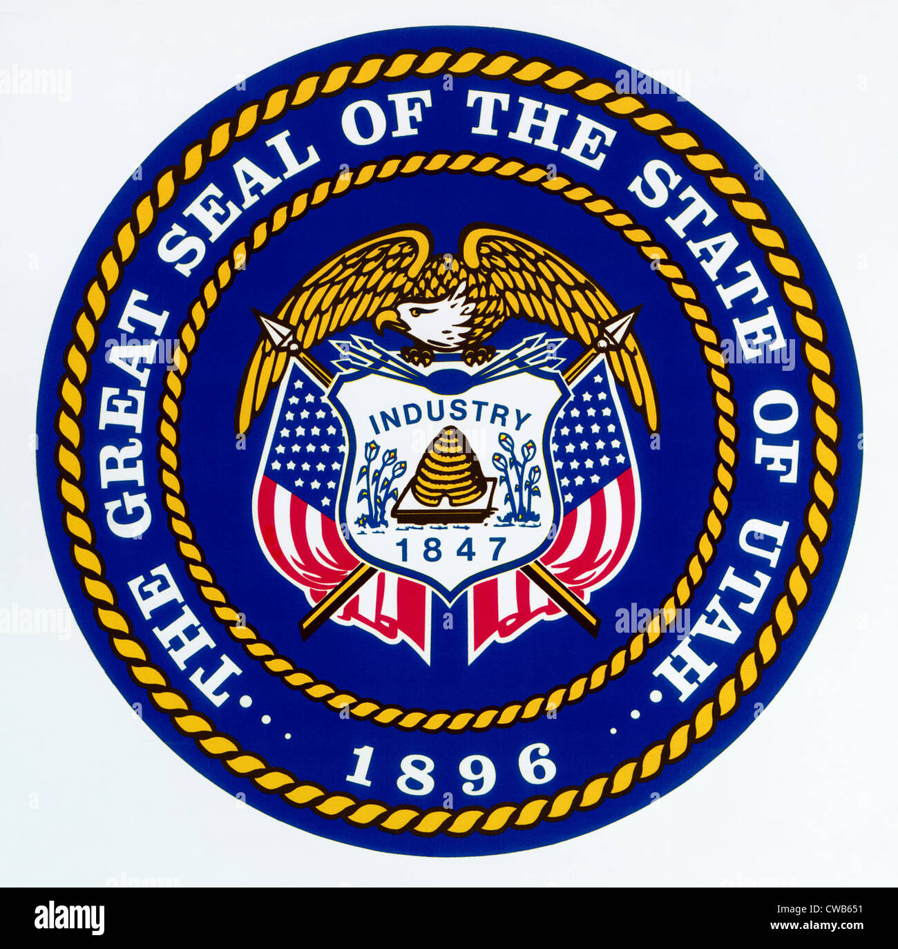 Great Seal of the State of Utah - Stock Image
