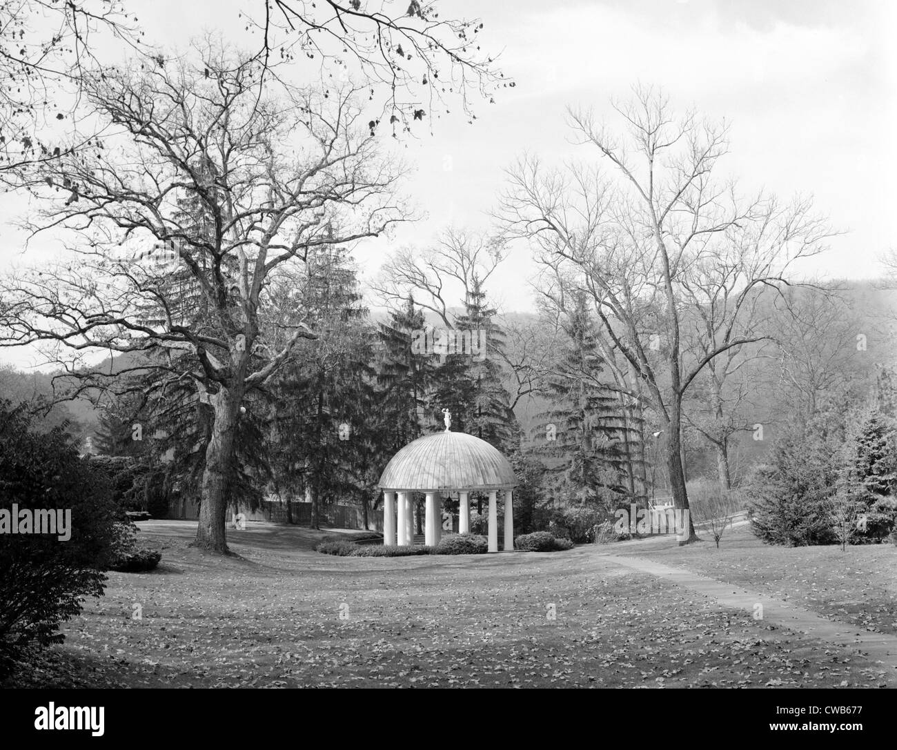 The Greenbrier, Spring House. White Sulphur Springs pavilion covers the complex's sulphur springs. West Virginia, - Stock Image