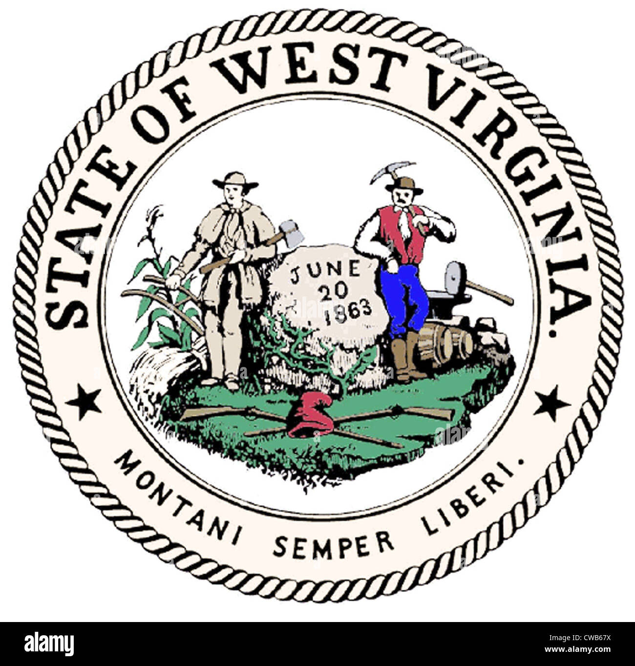 Great Seal of the State of West Virginia - Stock Image