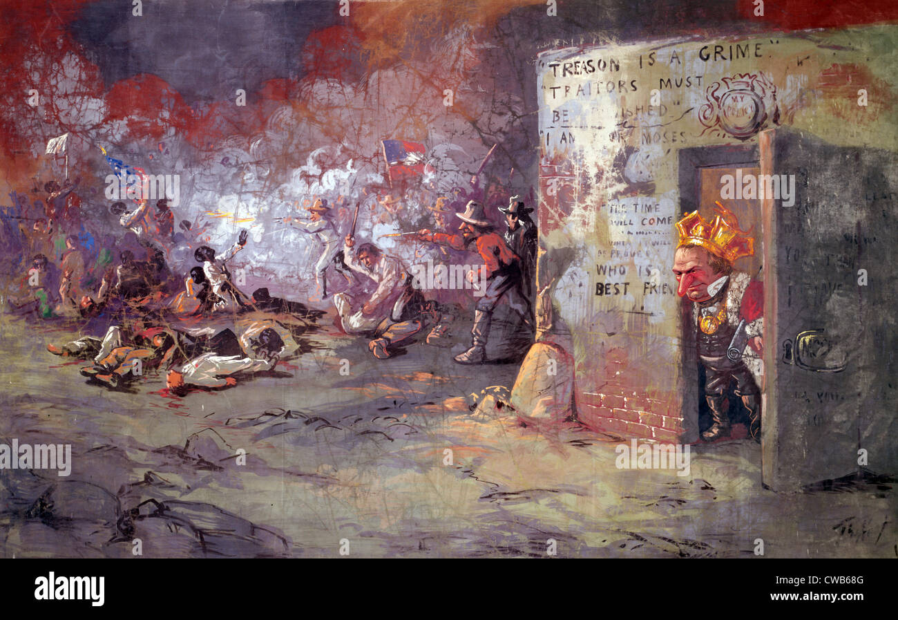 'The massacre at New Orleans', showing President Andrew Johnson at a race riot that occurred in New Orleans. - Stock Image