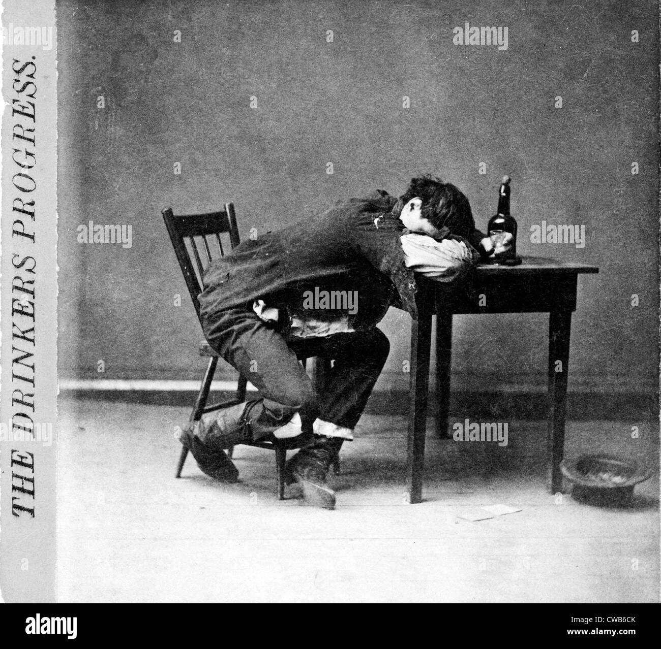 The drinker's progress: He is 'cleaned out'. stereo photograph by G.W. Edmondson, 1874. - Stock Image