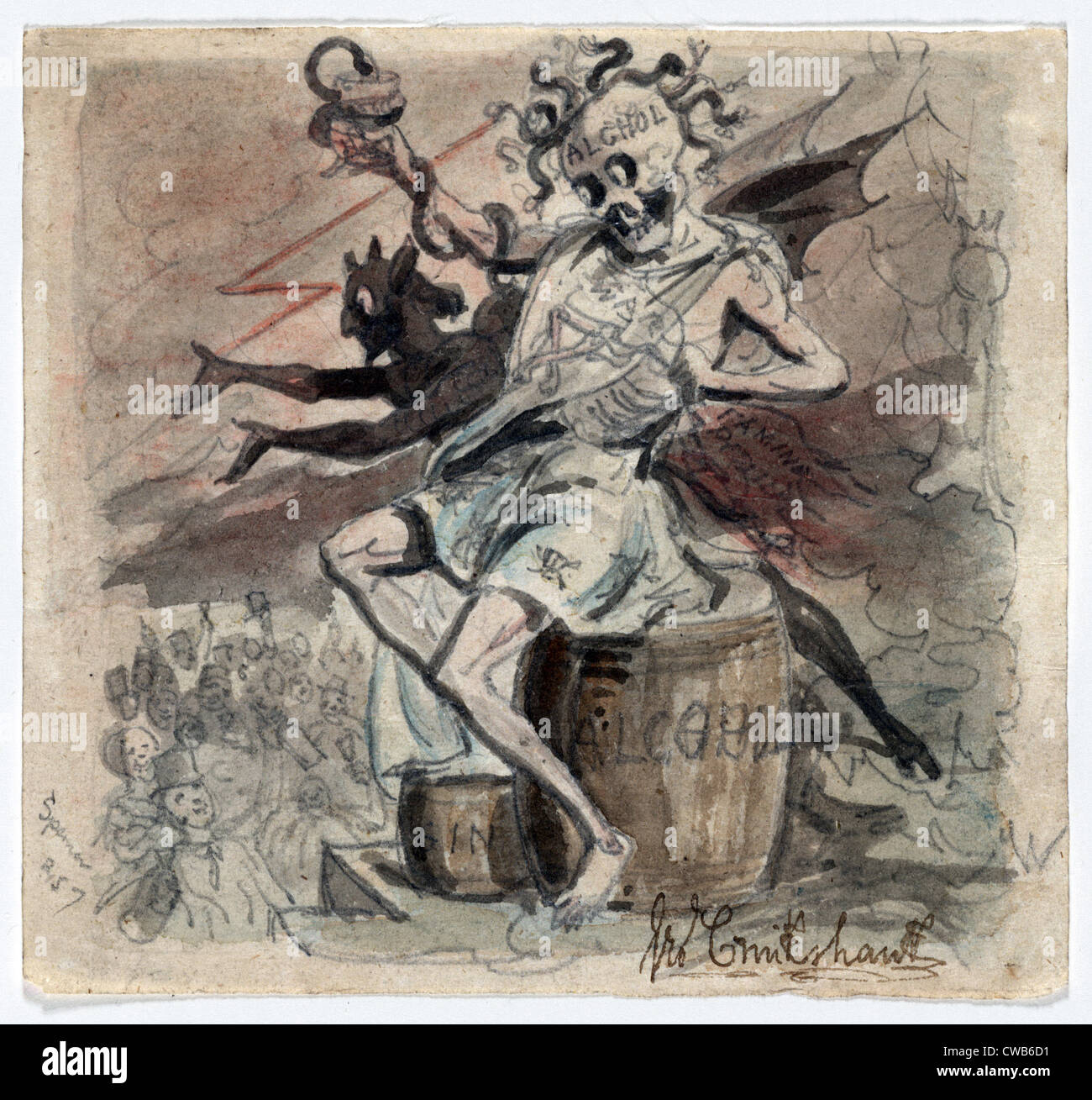 Allegory of the demon Alcohol. Watercolor by George Cruikshank ca. 1830s - Stock Image