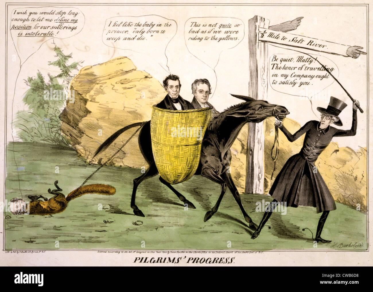 'Pilgrims' progress', showing ex-President Andrew Jackson leading the Democratic Party Donkey which - Stock Image