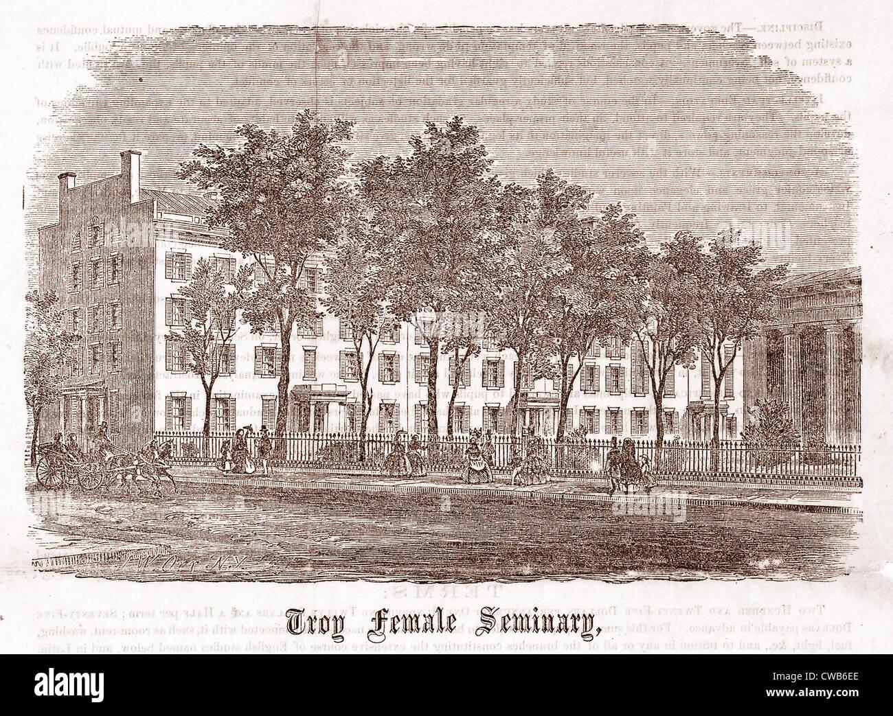 Troy Female Seminary, woodcut, 1800 - Stock Image