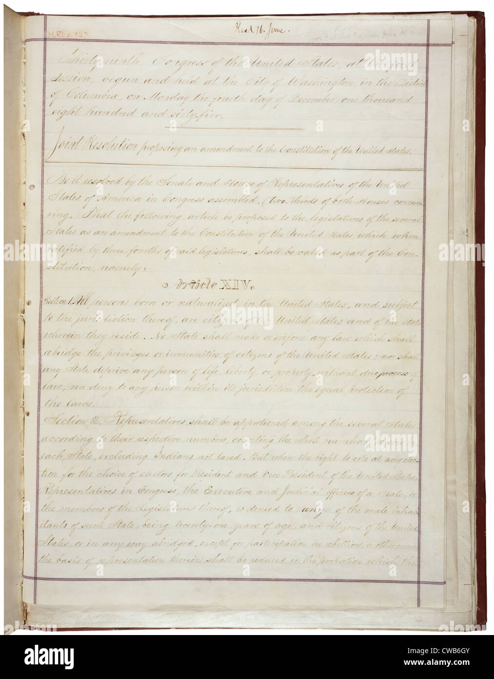 14th Amendment to the U.S. Constitution: Civil Rights (1868)Passed by Congress June 13, 1866, and ratified July - Stock Image
