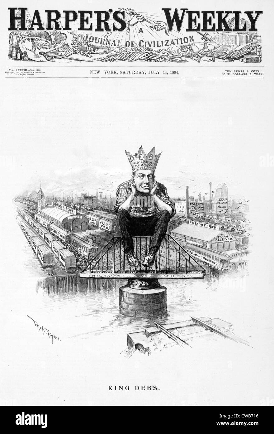 King Debs. Caricature of Eugene Debs, wearing crown labelled 'Deb's American railway union', published - Stock Image