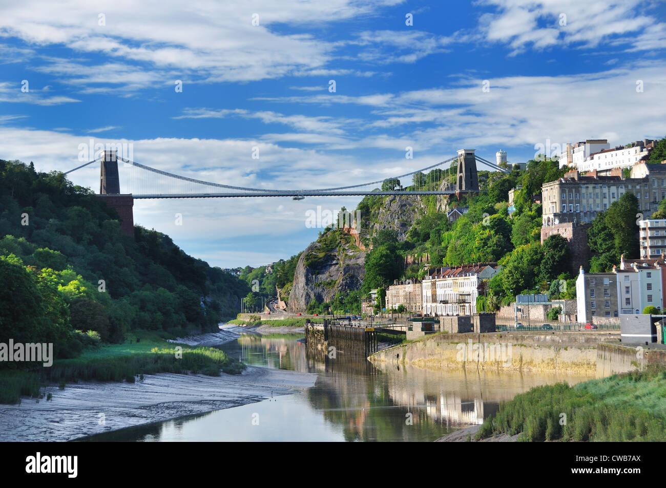 UK Bristol River Avon Clifton Suspension Bridge Spanning Avon Gorge - Stock Image