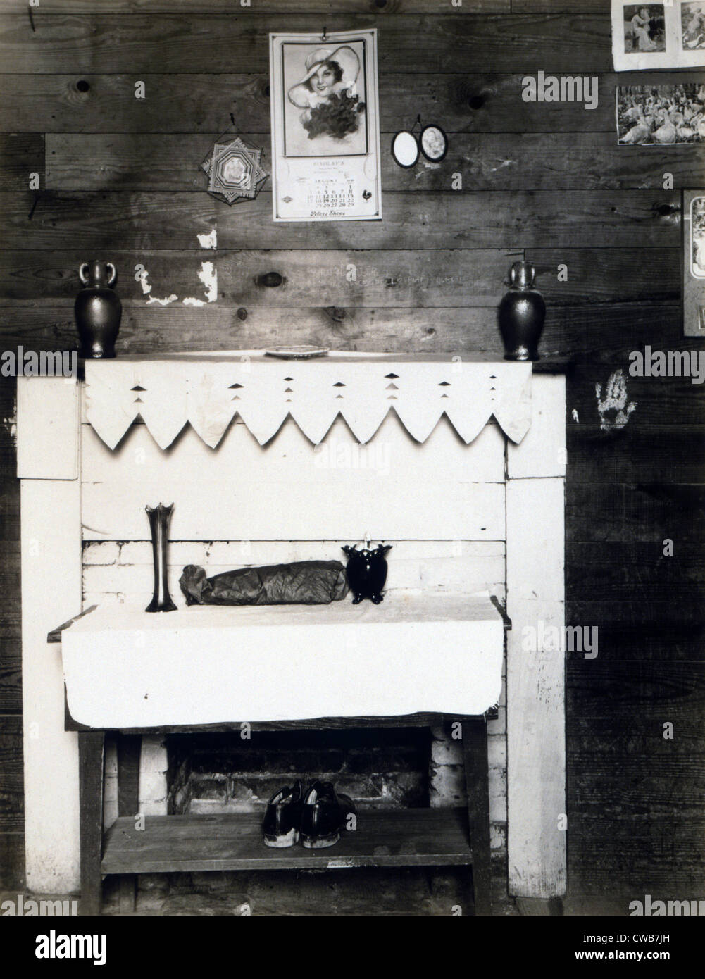 Fireplace in the bedroom of Floyd Burroughs, cotton sharecropper, Hale County, Alabama. Hale County, Alabama. Published - Stock Image