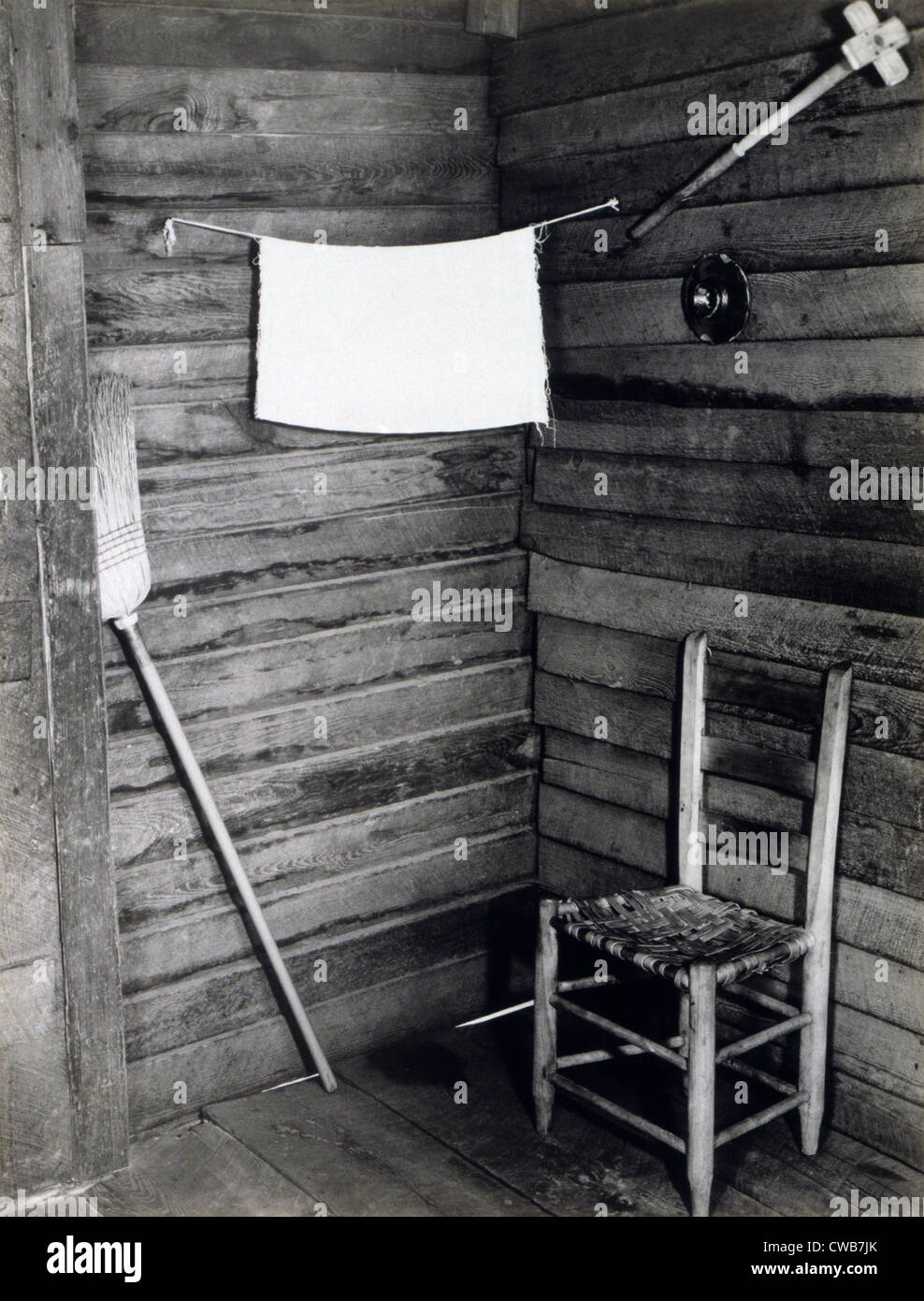 The corner of the kitchen in the home of Floyd Burroughs, cotton sharecropper  Hale County, Alabama. Published in - Stock Image
