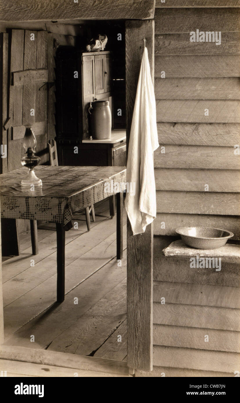 A washstand in the dog run and view into the kitchen in the home of Floyd Burroughs, cotton sharecropper. Hale County, - Stock Image