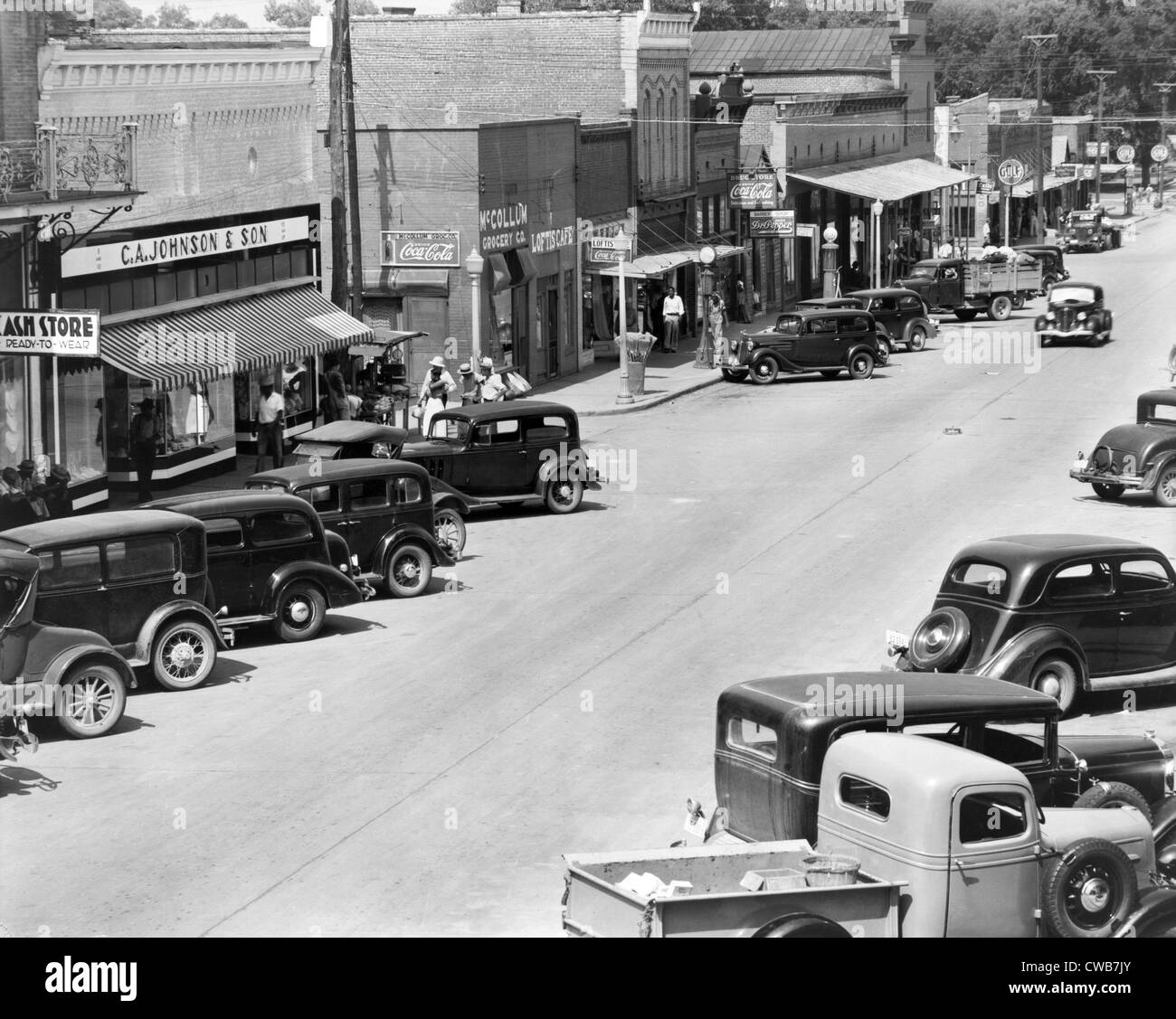 Main Street of Greensboro, county seat of Hale County, Alabama. Published in the book, 'Let Us Now Praise Famous - Stock Image