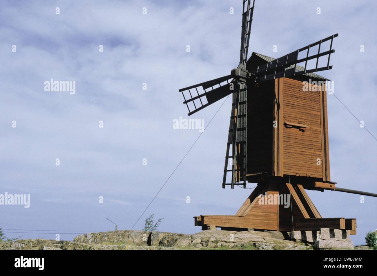 A historic post mill (windmill) in Kristinestad, Finland - Stock Image