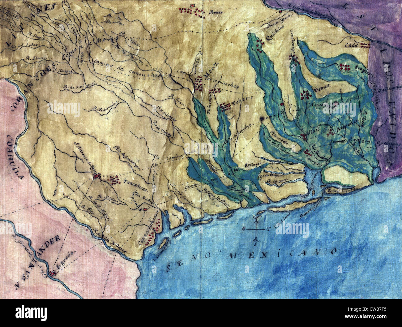 Topographic map of the Province of Texas. Stephen F. Austin's hand-drawn map of the Spanish Province of Texas. - Stock Image