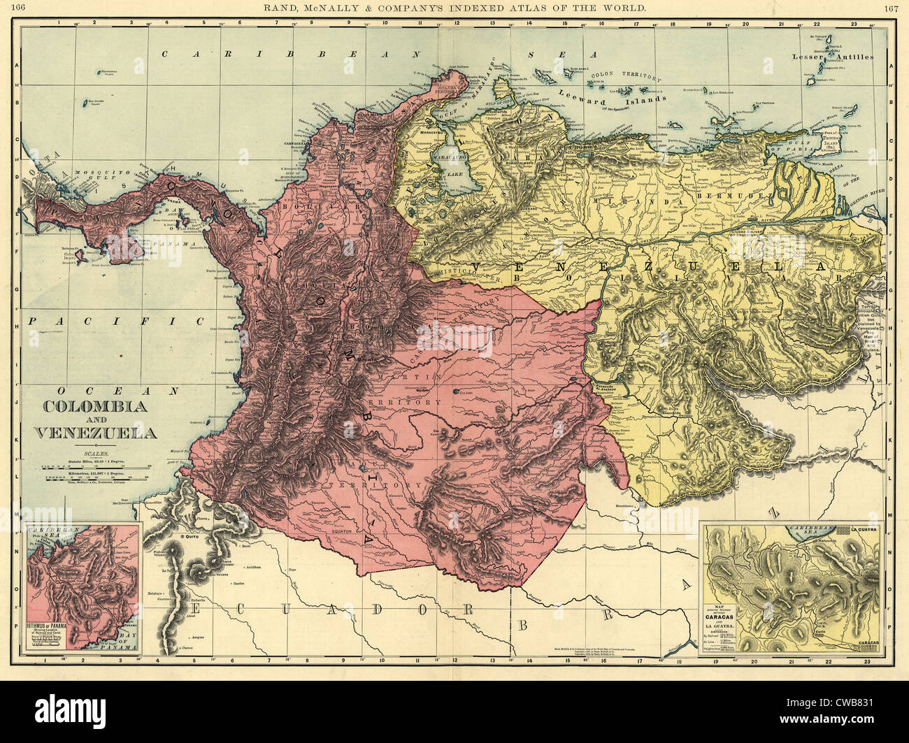 Map of Colombia and Venezuela ca 1898