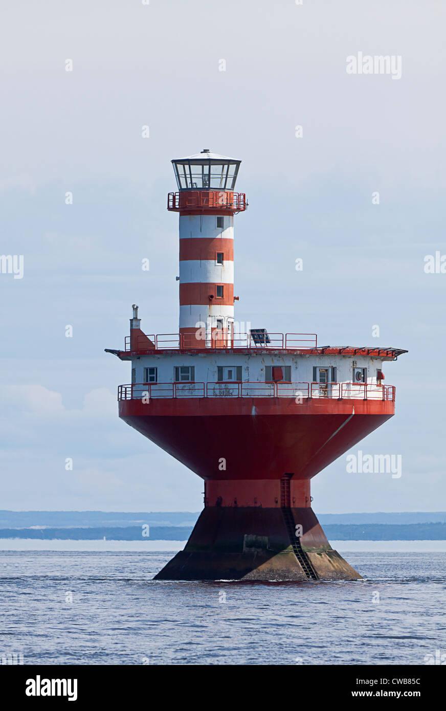 Prince Shoal Lighthouse, Haut-fond Prince Light Tadoussac, Quebec, Canada - Stock Image