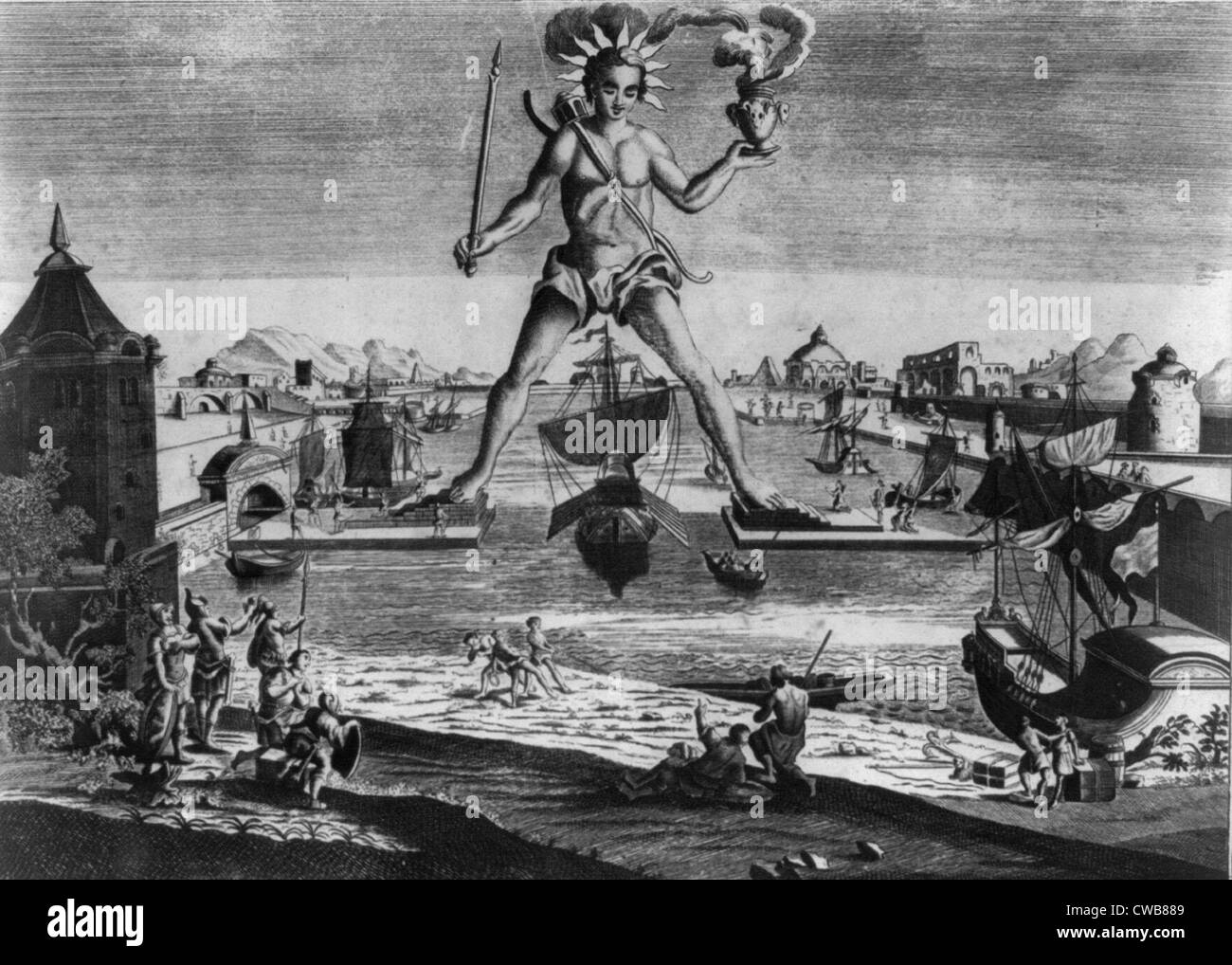 The Colossus of Rhodes, print 1860s - Stock Image