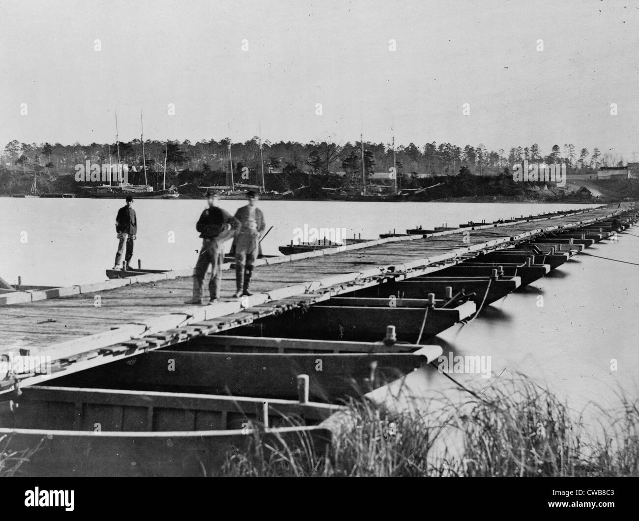 The Civil War. Pontoon bridge across the Appomattox River. 1860s - Stock Image