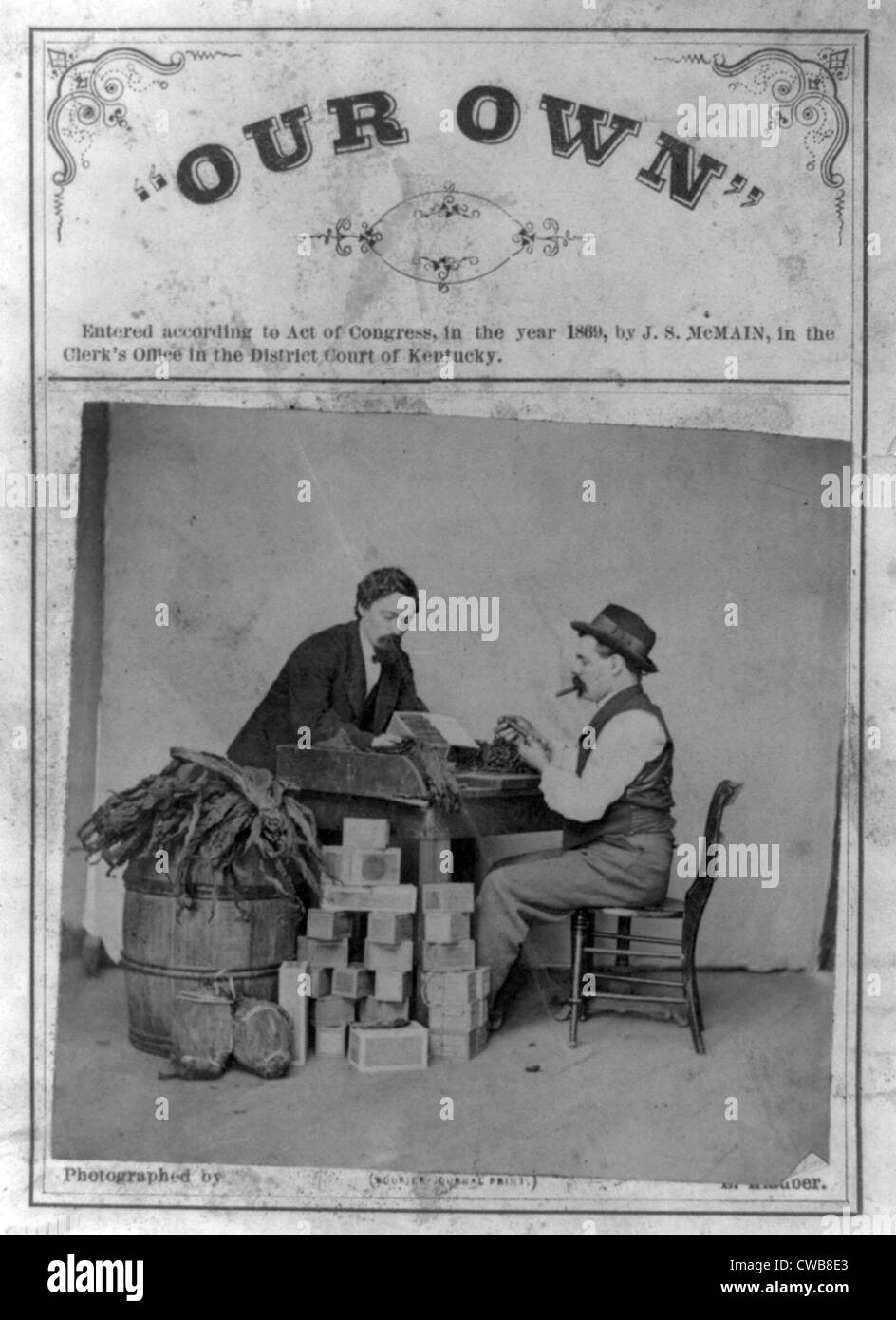 Cigar makers. Two cigarmakers pictured with toabacco leaves and cigar boxes. 1869 - Stock Image