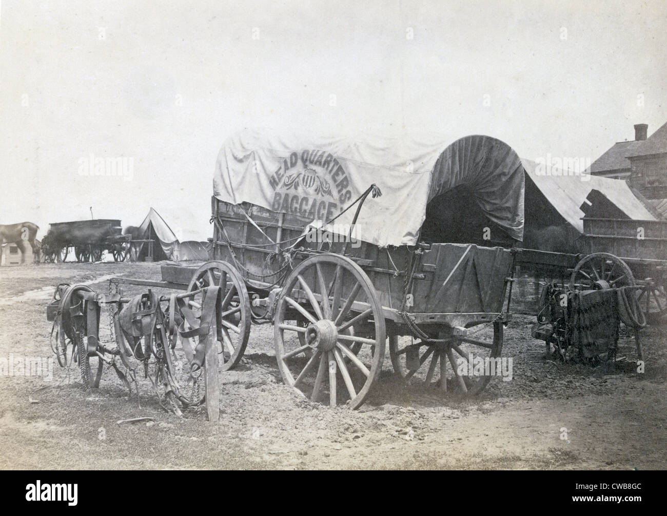 The Civil War. Covered wagon for 'Headquarters baggage' and saddlery. 1865 - Stock Image