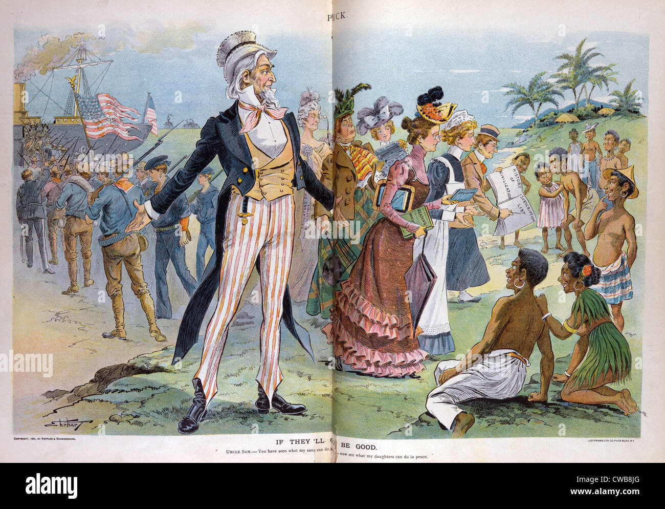 The Spanish American War. Illustration of Uncle Sam between departing American soldiers and American women arriving - Stock Image