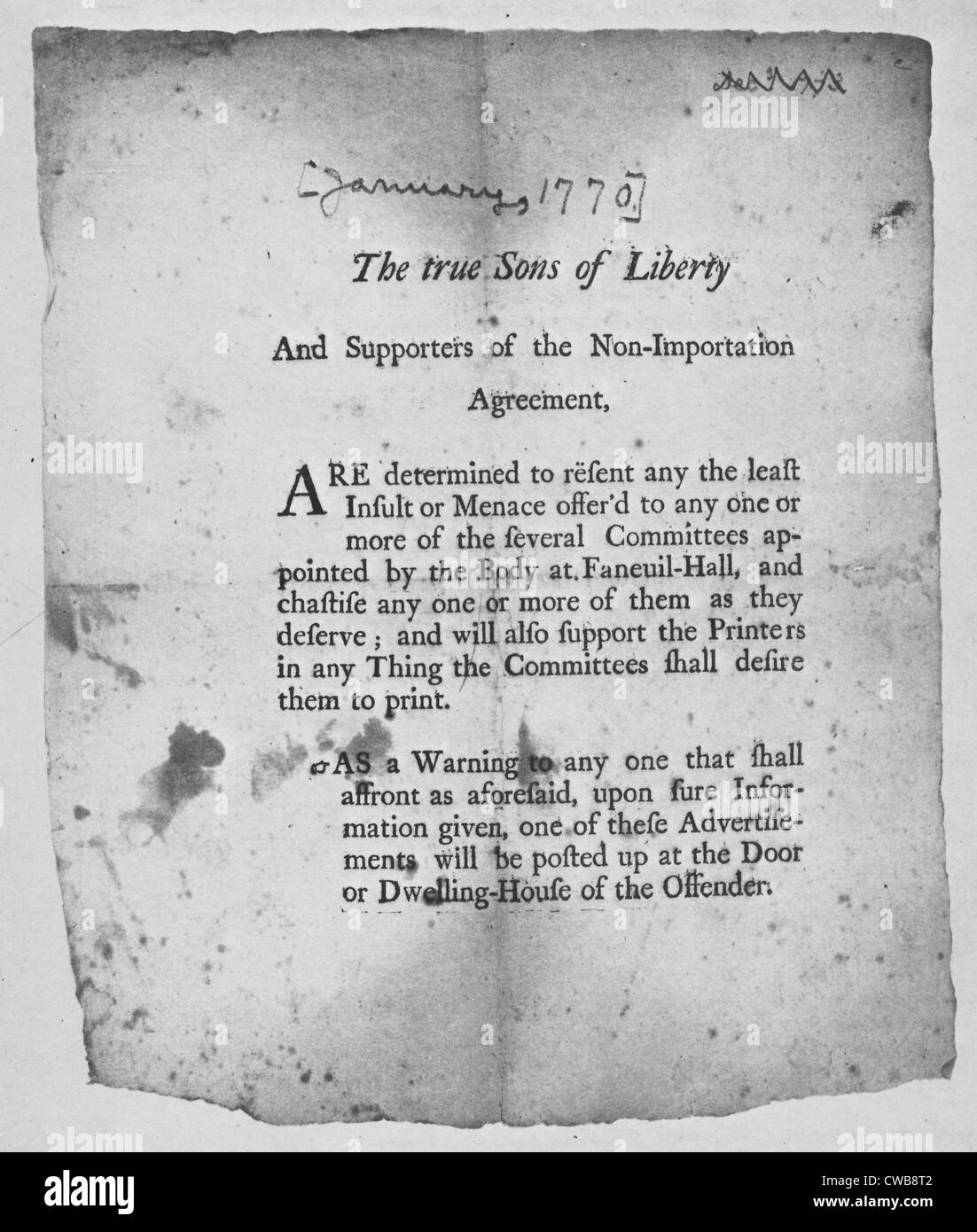 The American Revolution. Broadside encouraging action by the Sons Of Liberty. Boston 1768 - Stock Image